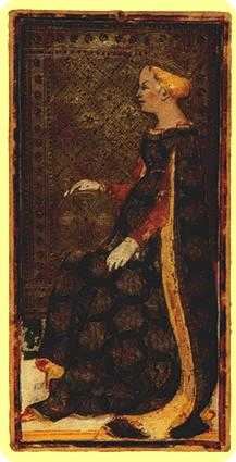 Reine of Coins Tarot Card - Visconti-Sforza Tarot Deck