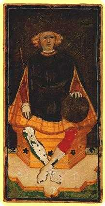 King of Buffalo Tarot Card - Visconti-Sforza Tarot Deck