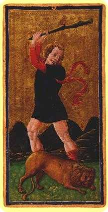 Strength Tarot Card - Visconti-Sforza Tarot Deck