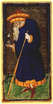 The Anchoret Tarot Card - Visconti-Sforza Tarot Deck