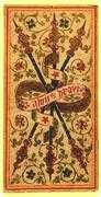 Three of Wands Tarot card in Visconti-Sforza Tarot deck
