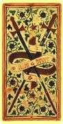 Two of Swords Tarot card in Visconti-Sforza deck