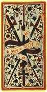 Three of Swords Tarot card in Visconti-Sforza Tarot deck