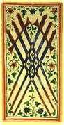Six of Swords Tarot card in Visconti-Sforza Tarot deck