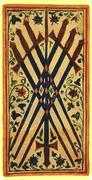 Seven of Swords Tarot card in Visconti-Sforza deck