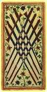 Eight of Swords Tarot card in Visconti-Sforza Tarot deck
