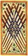Ten of Swords Tarot card in Visconti-Sforza Tarot deck