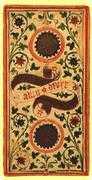 Two of Coins Tarot card in Visconti-Sforza Tarot deck