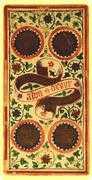 Four of Coins Tarot card in Visconti-Sforza deck