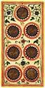 Seven of Coins Tarot card in Visconti-Sforza Tarot deck