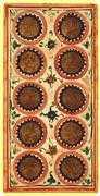Ten of Coins Tarot card in Visconti-Sforza deck