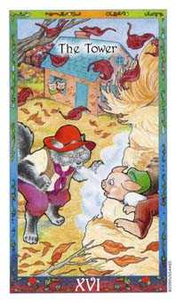 The Falling Tower Tarot Card - Whimsical Tarot Deck