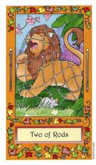 Two of Rods Tarot Card - Whimsical Tarot Deck