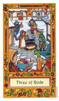 Three of Pipes Tarot Card - Whimsical Tarot Deck