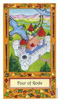 Four of Batons Tarot Card - Whimsical Tarot Deck