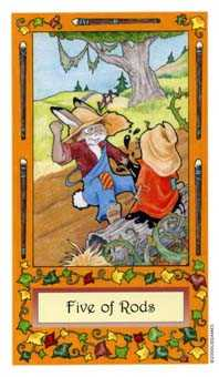 Five of Batons Tarot Card - Whimsical Tarot Deck