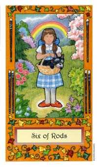 Six of Pipes Tarot Card - Whimsical Tarot Deck