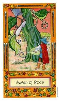 Seven of Staves Tarot Card - Whimsical Tarot Deck