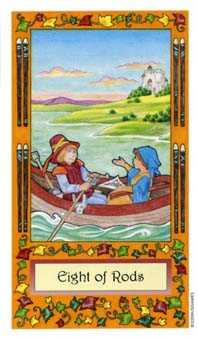 Eight of Staves Tarot Card - Whimsical Tarot Deck