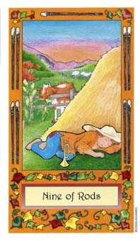 Nine of Batons Tarot Card - Whimsical Tarot Deck