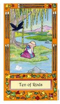 Ten of Staves Tarot Card - Whimsical Tarot Deck