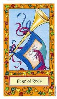 Page of Rods Tarot Card - Whimsical Tarot Deck