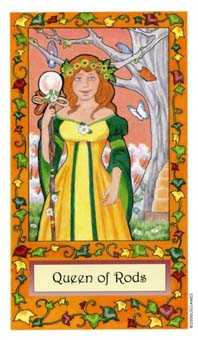 Queen of Rods Tarot Card - Whimsical Tarot Deck