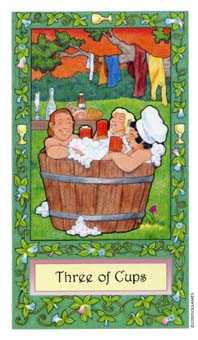 Three of Cups Tarot Card - Whimsical Tarot Deck