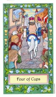 Four of Cups Tarot Card - Whimsical Tarot Deck