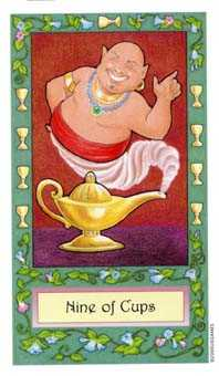 Nine of Cups Tarot Card - Whimsical Tarot Deck