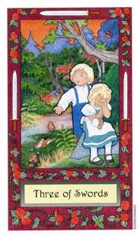 Three of Swords Tarot Card - Whimsical Tarot Deck