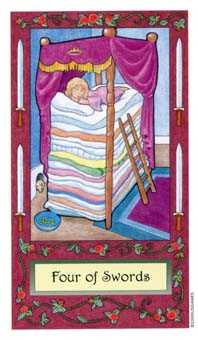 Four of Swords Tarot Card - Whimsical Tarot Deck