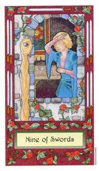 Nine of Arrows Tarot Card - Whimsical Tarot Deck