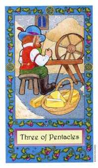 Three of Discs Tarot Card - Whimsical Tarot Deck
