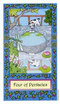 Four of Pentacles Tarot Card - Whimsical Tarot Deck