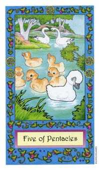 Five of Coins Tarot Card - Whimsical Tarot Deck