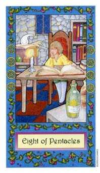 Eight of Coins Tarot Card - Whimsical Tarot Deck