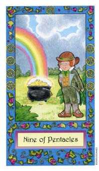 Nine of Coins Tarot Card - Whimsical Tarot Deck