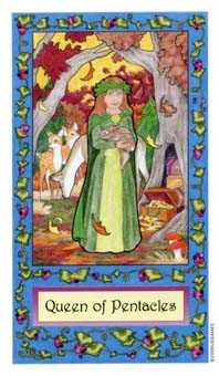 Queen of Coins Tarot Card - Whimsical Tarot Deck