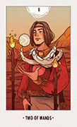 Two of Wands Tarot card in White Numen deck