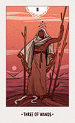 Three of Wands Tarot card in White Numen deck