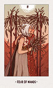 Four of Wands Tarot card in White Numen deck