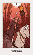 Six of Wands Tarot card in White Numen deck