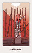 Nine of Wands Tarot card in White Numen deck