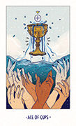 Ace of Cups Tarot card in White Numen deck