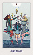 Three of Cups Tarot card in White Numen deck