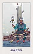 Four of Cups Tarot card in White Numen deck