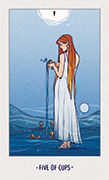 Five of Cups Tarot card in White Numen deck