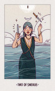 Two of Swords Tarot card in White Numen deck