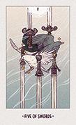 Five of Swords Tarot card in White Numen deck